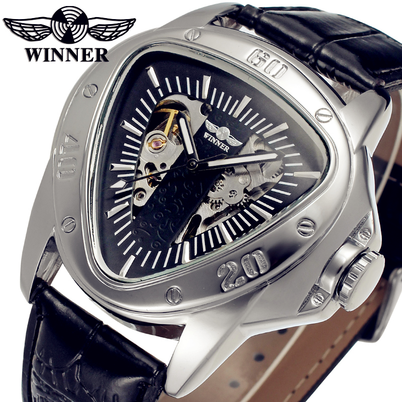 Fashion font b WINNER b font Men Luxury Brand Triangle Skeleton Leather Casual Watch Automatic Mechanical