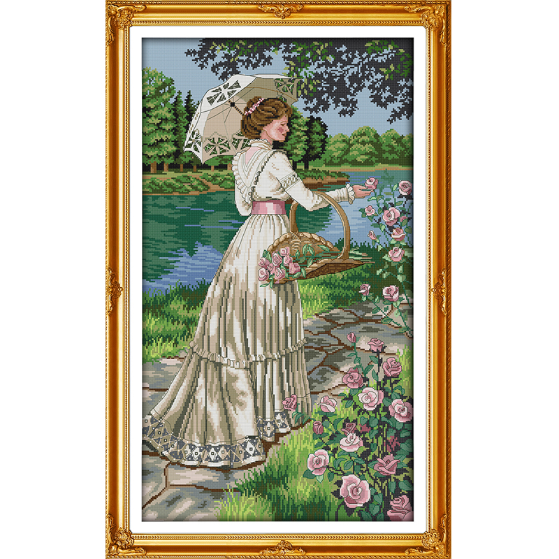 Joy Sunday Picking flowers Cross Stitch DIY Counted 14CT and11CT For Embroidery Home Decor Needlework Cross-stitching Set image