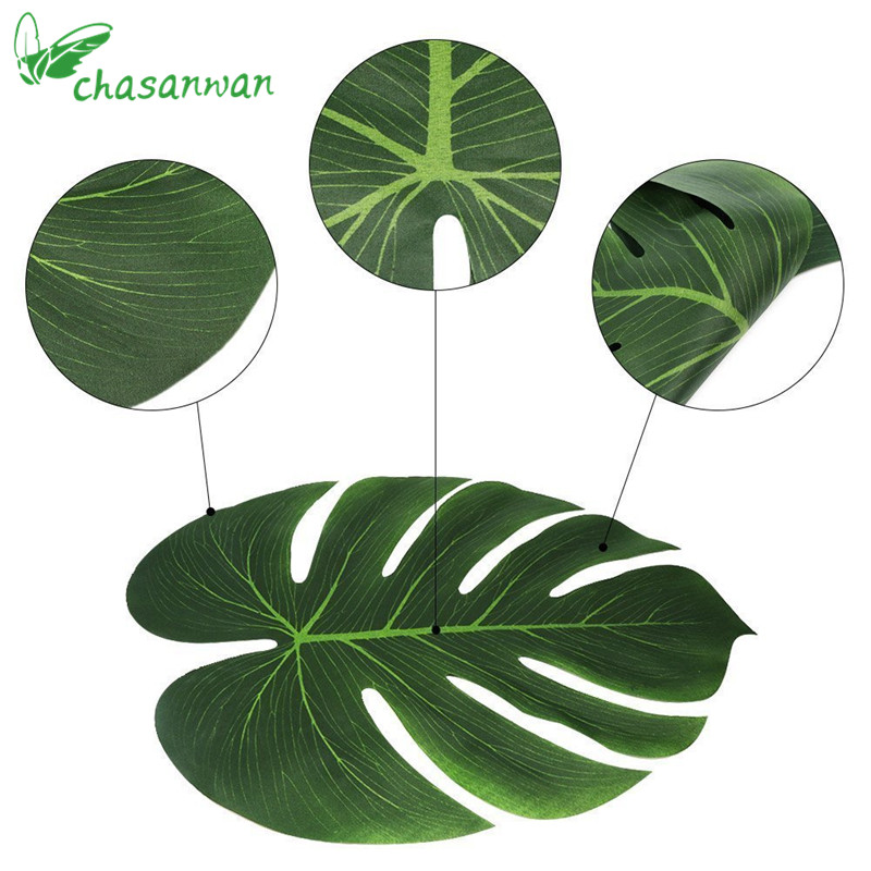 US $7 87 30% OFF 50Pc Artificial Tropical Palm Leaves Luau Party Decoration  Birthday Party Decorations Kids Baby Shower Decor Wedding Decoration -in