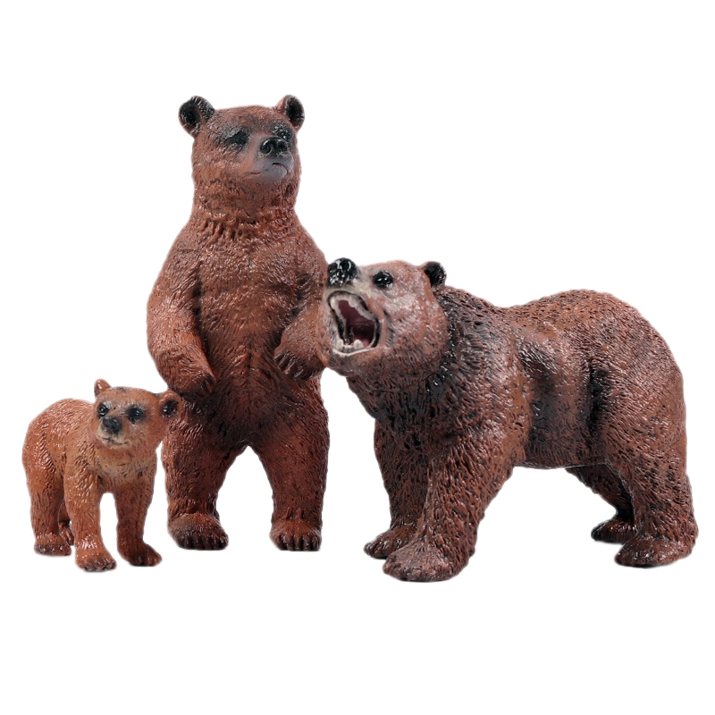 Children'S Simulation Wild Animal Brown Bear Model Solid Brown Bear Figurine Decoration Brown Bear Toy Set
