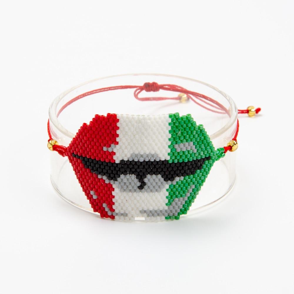 Shinus 10Pcs Women Bracelets Mexican Flag Miyuki Charm Bracelet Beaded Bracelet Turkey evil eye of Medusa