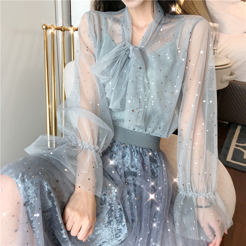Lady Transparent Mesh Bow-neck Shinning Stars   Blouses     Shirts   Tees Girls Flare Sleeve Chic   Blouses   Tops 2 Pieces For Women