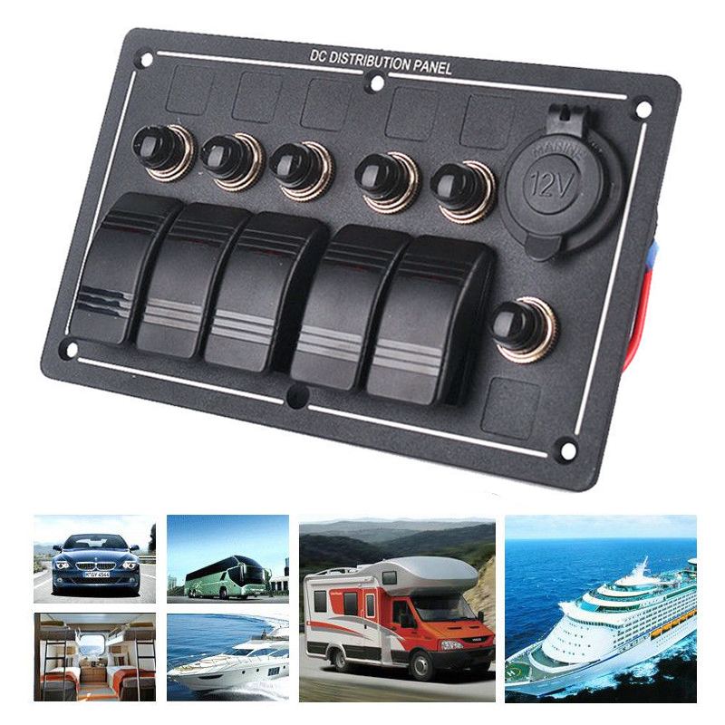 12V 24V Waterproof 5 Gang Rocker Switch Panel Aluminum LED Power Socket Marine Boat With DC Cigarette Lighter in Car Switches Relays from Automobiles Motorcycles