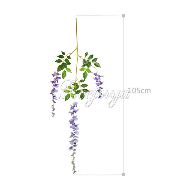 12pcs 105cm Silk Artificial Hanging Flower Wisteria Plants Fake Decorative Wreaths For Wedding Home Decor