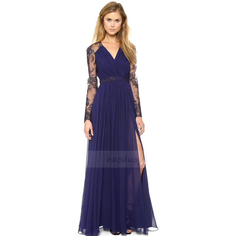 2017 Women Maxi Dresses Long Summer Beautiful Lace Sleeve Patchwork Split Chiffon Dress Navy Celebrity Elegant In From S