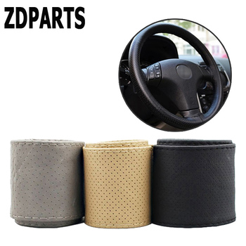 ZDPARTS 38CM Leather Automobiles Car Steering Wheel Covers For BMW E46 E39 E60 E90 E36 F30 F10 X5 E53 E34 E30 Mini Cooper Lada image