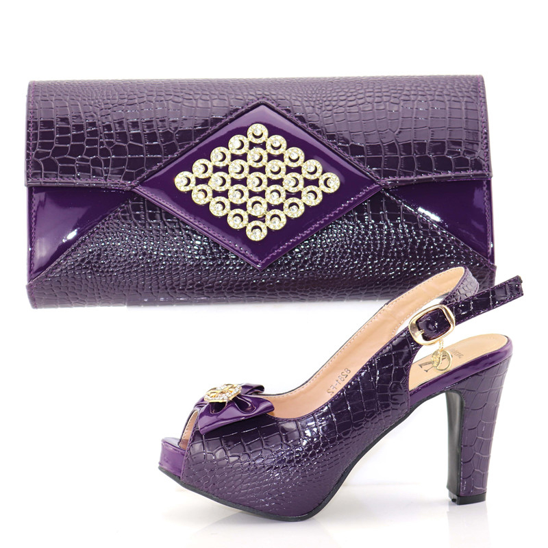 High quality shoe bag set in purple color african aso ebi wedding shoes and bags matching set italy design shoe bag SB8176-4High quality shoe bag set in purple color african aso ebi wedding shoes and bags matching set italy design shoe bag SB8176-4