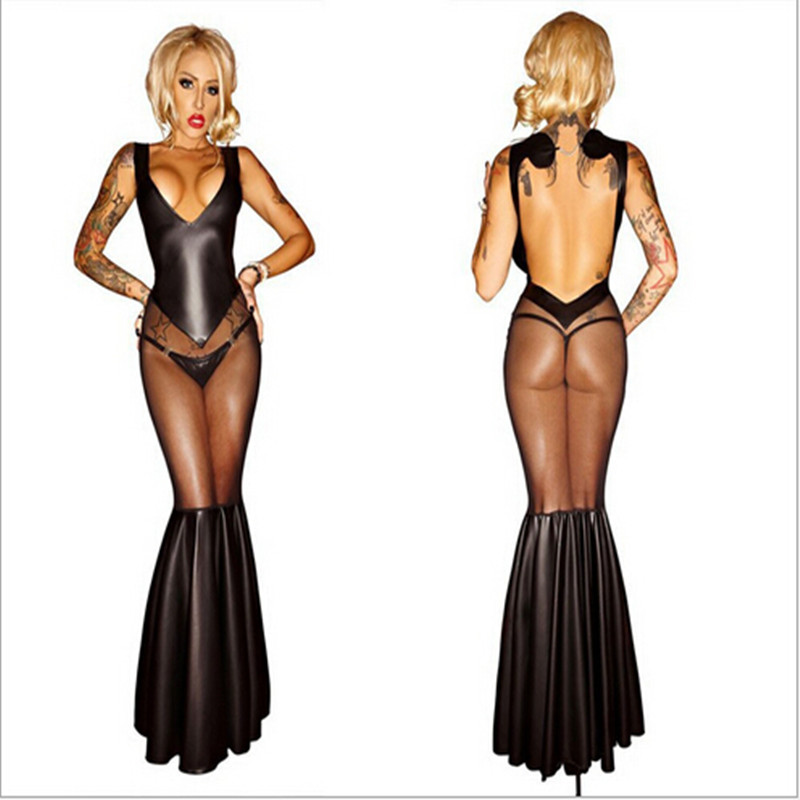 Buy 2016 new Sexy lingerie Lady's PVC Leather Latex Catsuit  Latex Mermaid Mesh dress Women Spandex Catsuit Clothing Wetlook