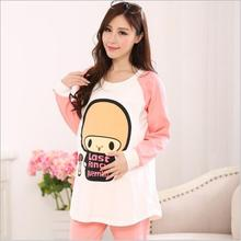 Spring Autumn Long-sleeved Sleep Lounge Lactation Clothing Feeding Pajamas Cotton Cartoon Maternity Clothes for Pregnant Women