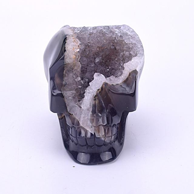 3.8'' Crystal Healing Stone Skull Figurine Crystal Skull Statue Carved Natural Agate Geode Healing Skull Sculpture Home Decor