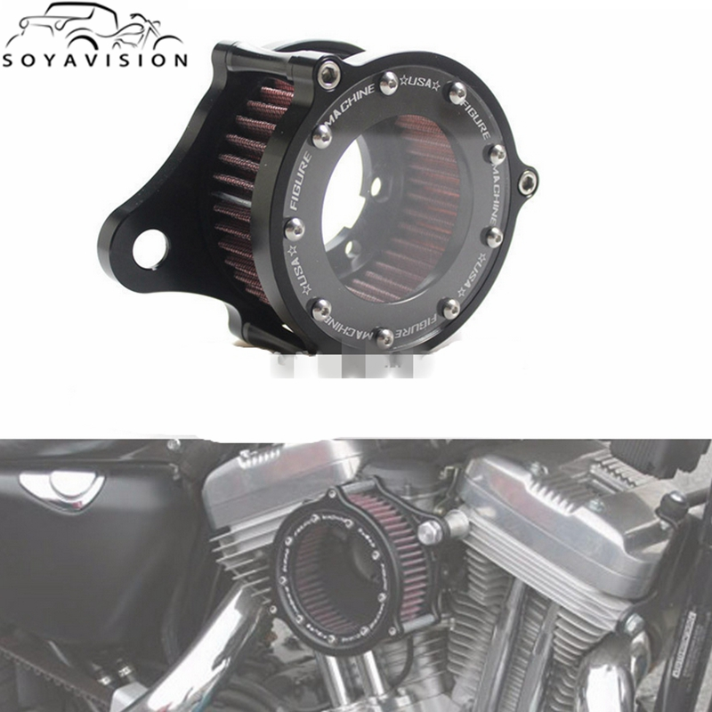 Motorcycle Accessories & Parts Motorbikes Black Billet Aluminum Air Cleaner Intake Air Filter System Kit For Harley Sportster Fuel Injected Models 2004-2014 Highly Polished