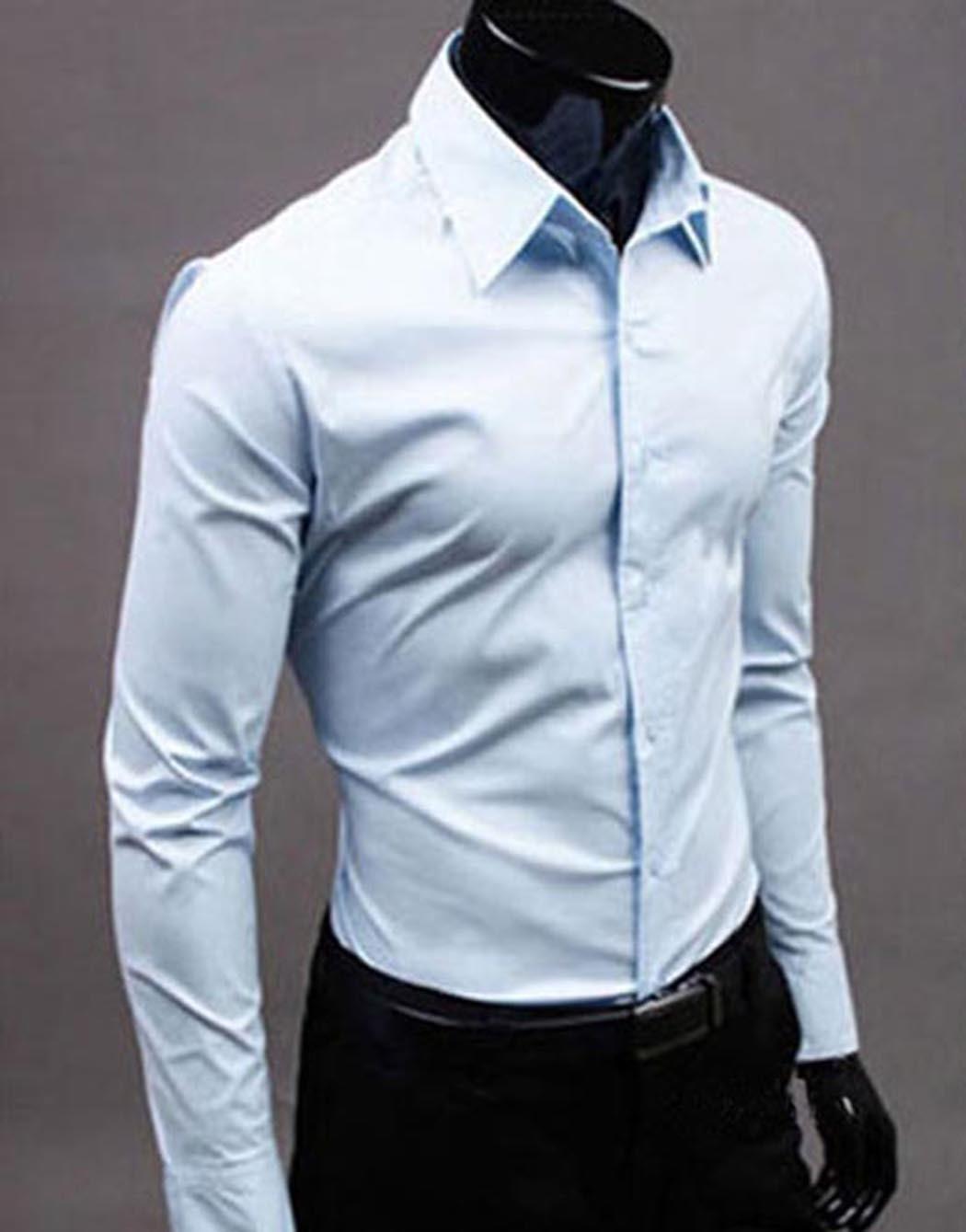 47b6621c9b9 2017 Mens Shirt Bussiness Shirt Formal Pink Slim Fit Long Sleeve Tops Solid  New White Black Pink 004