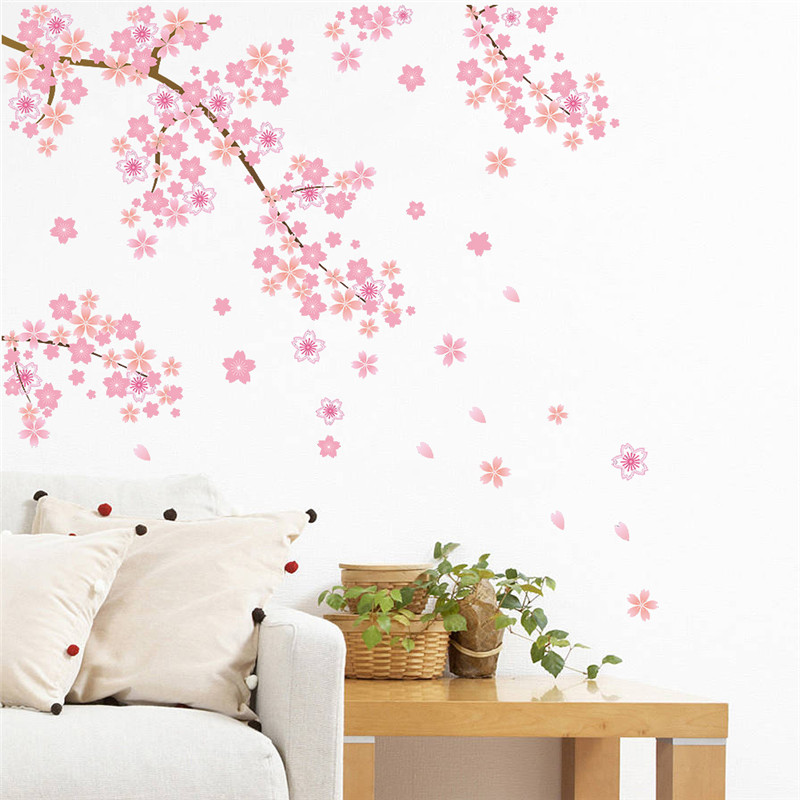 Pink cherry blossoms tree romantic diy home decal wall for Diy tree wall mural