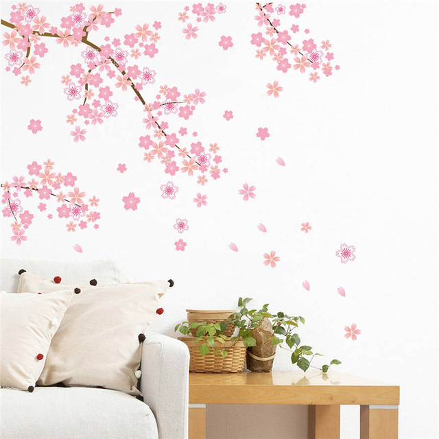 Pink Cherry Blossoms Tree Romantic Diy Home Decal Wall Sticker Girls Bedroom  TV Background Decorative Store Part 62