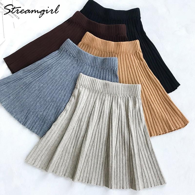 c4f690335 Falda plisada Streamgirl faldas de escuela de cintura alta para mujeres  invierno mujer OL Mini Falda ...