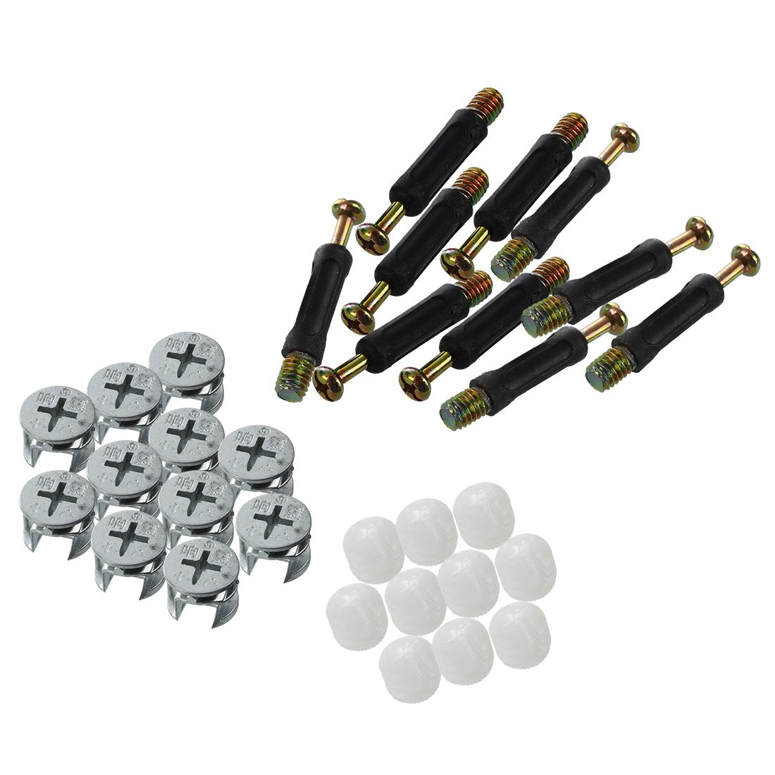 DSHA New Hot 10 Sets Furniture Side Connecting 15 X 12mm Cam Fitting Dowel Pre-inserted Nut