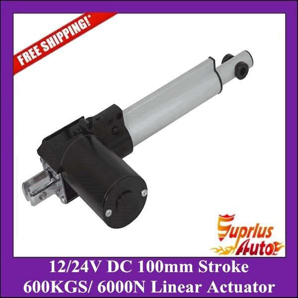 Бесплатная доставка 12/24 В DC, 100 мм/4 дюйма хода, 6000N/600 кг/1320lbs нагрузки линейный привод