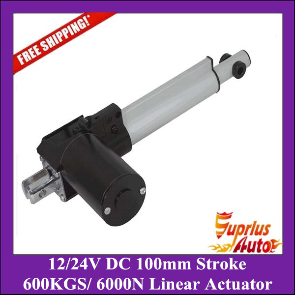 Free Shipping 12/ 24V DC, 100mm/ 4inch stroke, 6000N/600KG/1320LBS load linear actuator