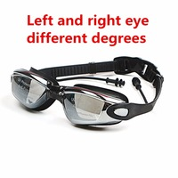 Swim Silicone Left and right eye different degrees Eyewear glasses mask Adult Prescription Optical Myopia   Swimming   Goggles
