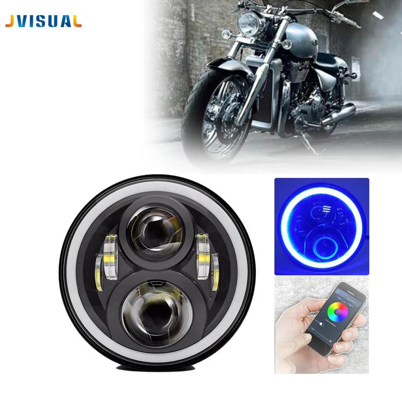 2018 new light 7 Motorcycle adaptive Projector 883 Headlight LED Light For Harley Davi 7Inch H4 LED headlamp