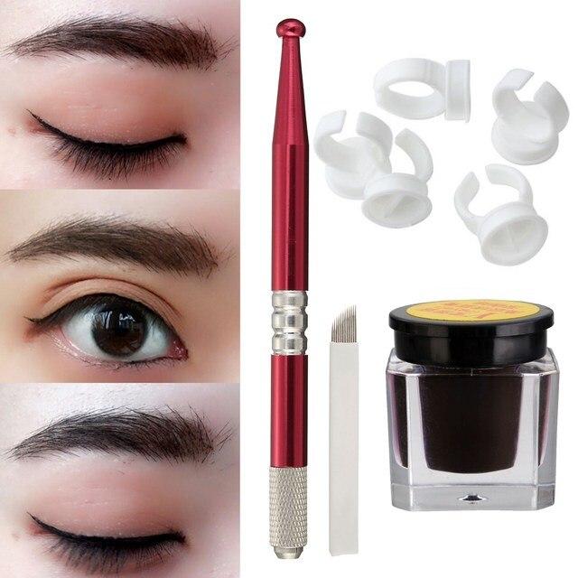 Semi Permanent Eyebrow Makeup Tattoo Kits Set Microblading Manual
