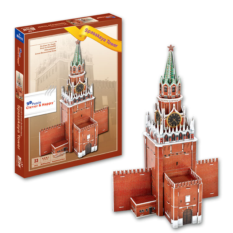 Candice guo 3D puzzle DIY toy paper building model assemble hand work game spasskaya tower russia Architecture birthday gift 1pc series s 3d puzzle paper diy papercraft double decker bus eiffel tower titanic tower bridge empire state building