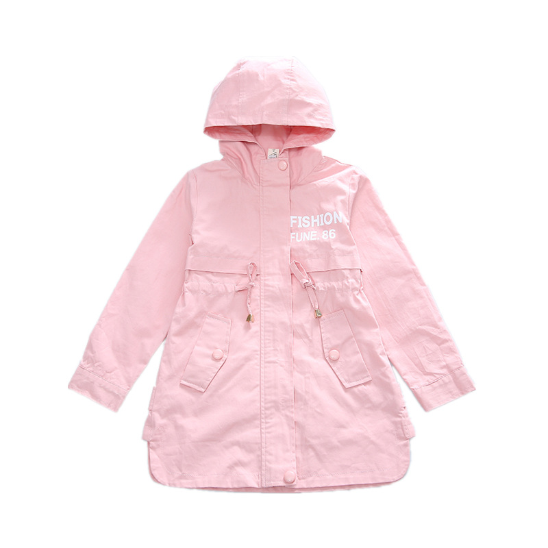 Image 5 - Children Clothing Baby Girls Clothing 2018 Spring and Autumn New Leisure Girls Coat Letter Movement, Hooded WindbreakerJackets & Coats   -