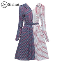Sishot women casual dresses 2017 autumn dark blue tripes color block v neck a line knee length belt long sleeve casual dress
