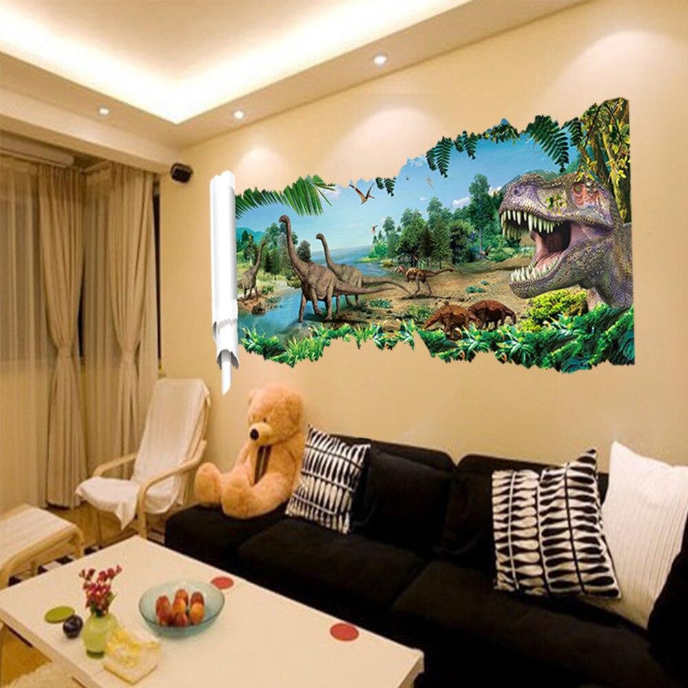 3D Effect Jurassic Realm Dinosaurus Dino Muurstickers Home ...