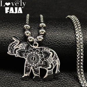 2019 Fashion Elephant Enamel Stainless Steel Chain Bracelet Women Silver Color Long Statement Necklace Jewelry bisuteria N18752