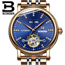 2017 NEW BINGER men's watch luxury diamond Full stainless Steel sapphire Superior quality Mechanical Wristwatches B-1173-2
