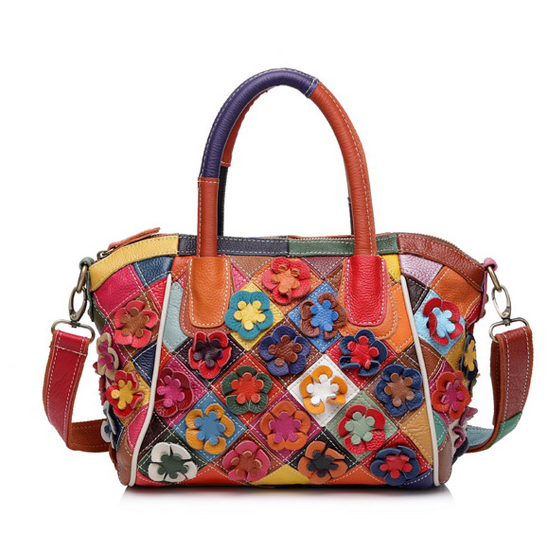 2017 100% Genuine Leather Women handbag Cow Leather Multi Shoulder Bag Casual Colourful Patchwork Women Bag Tote 2017 100