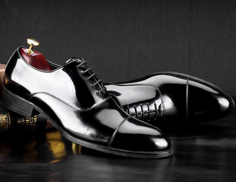 British Style Men's Shoes Round Toe Black Men's Leather Business Formal Dress Genuine Leather Shoes Men Bright Leather Shoe 9