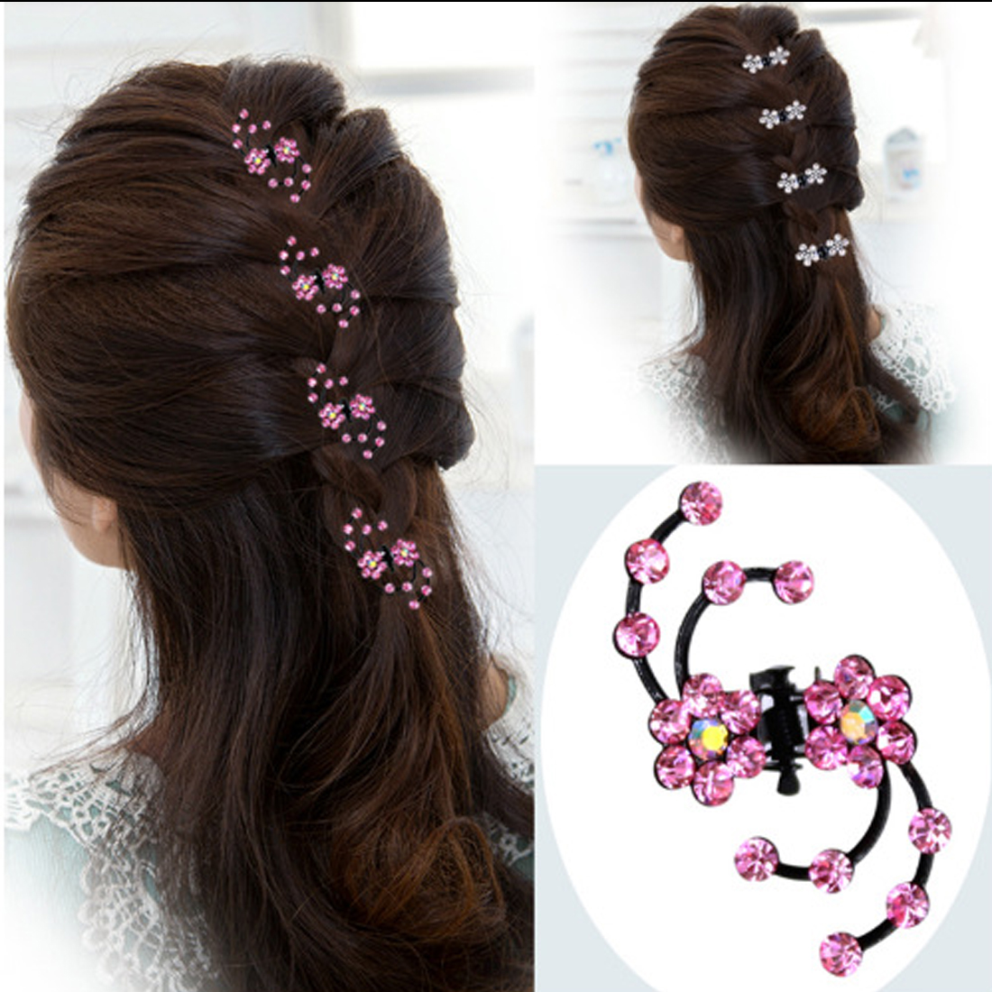 Woman Girls Crystal Snowflake Hair Clips Hairpins Female Headwear Rhinestone Hair Claws Hair Accessories