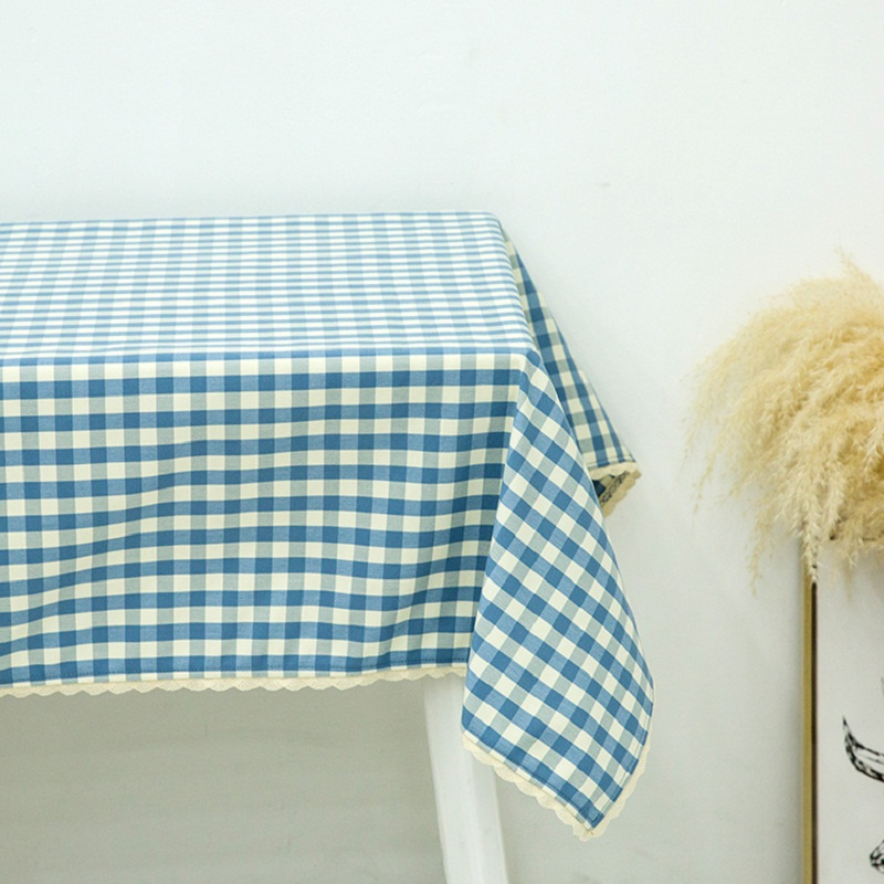 New Sky Blue Plaid Printed LaceTablecloth Table Cloth Water Repellent Oil  Resistant Mildew Resistant Tablecloth With