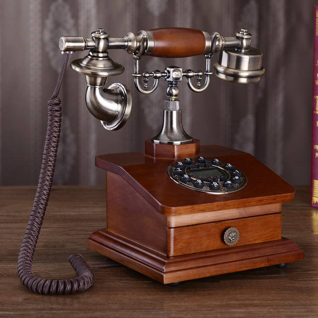 Moda telefone antigo de madeira telefone do vintage telefone de casa telefone equipado telefone fixo