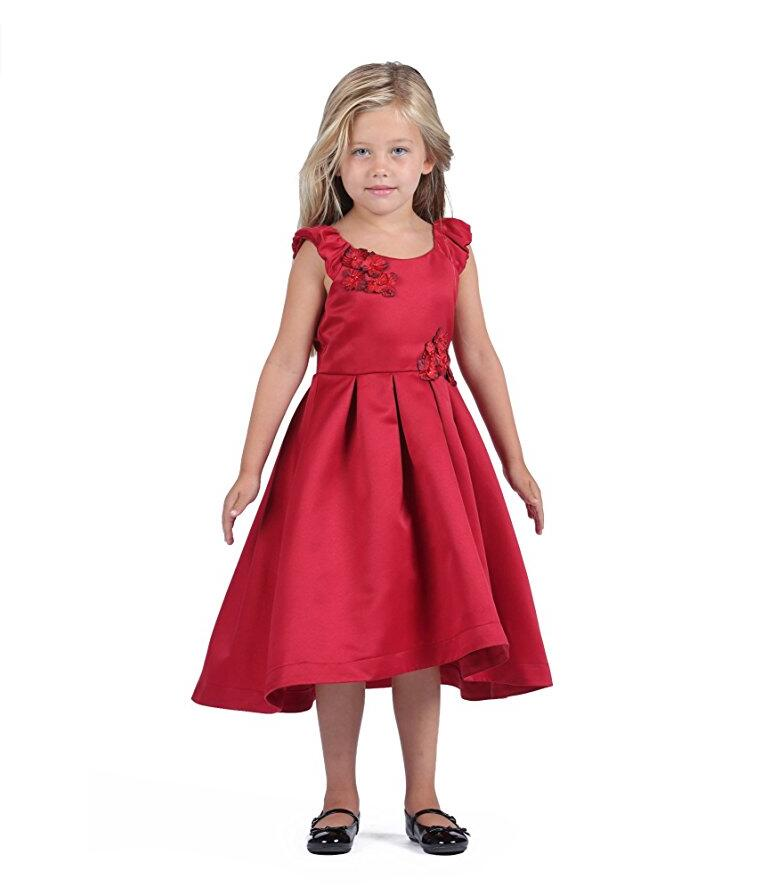 Mother Daughter Dresses For Girls A-Line Satin Flower Girl Wedding Dress Multiple Colors Sleeveless Kids Prom Dress For Girls girls grid a line flared dress