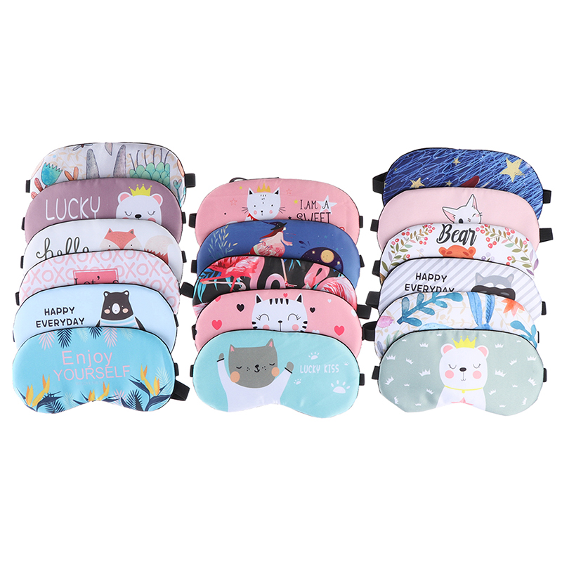 16style Sleeping Mask Eyepatch Soft Eye Sleep Mask Fashion Cartoon Cat Dog Rabbit Travel Relaxing Sleeping Aid Blindfold