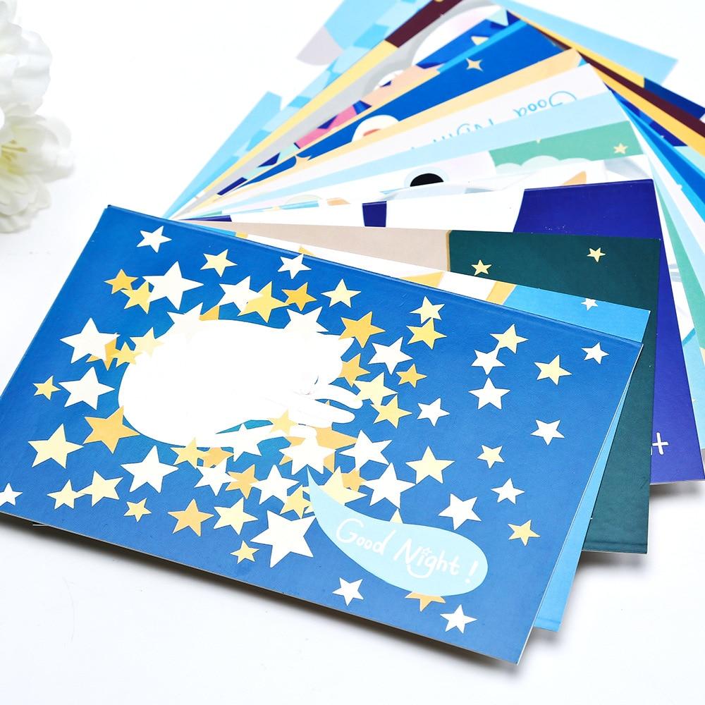 30POSTCARDS/PACK GOOD NIGHT KITTENS Cute Cat Kawaii Cartoon Cards Message Gift Cards DIY 350 Paper Arts Supplies
