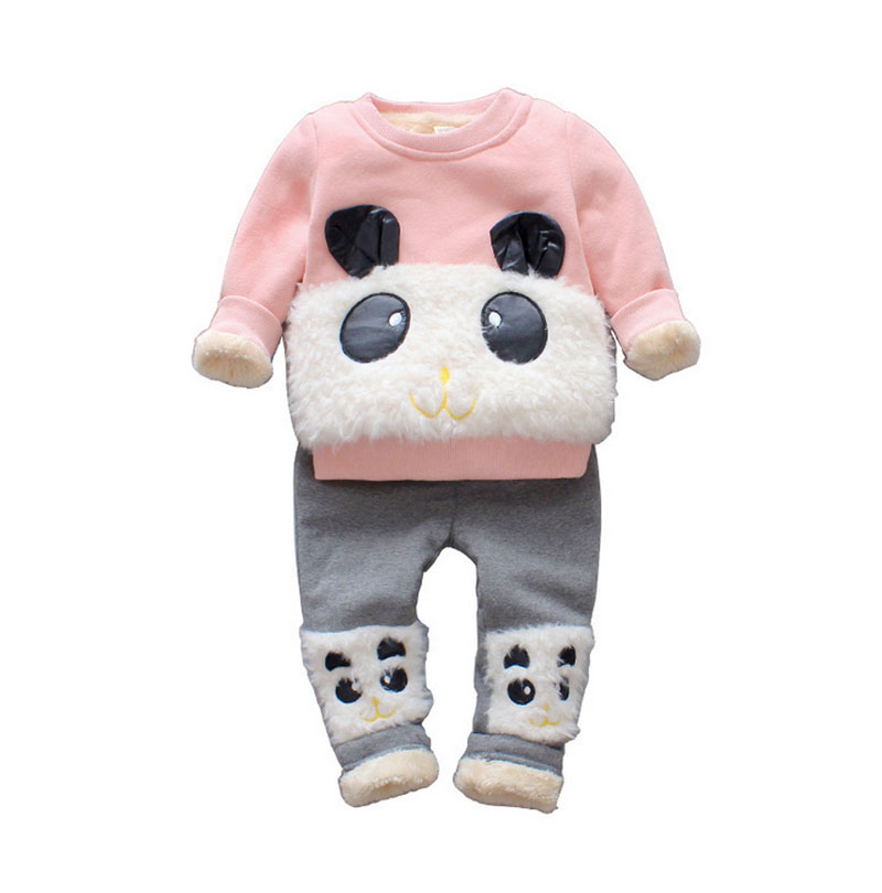 2017 New Children Clothing Sets Baby Girls Boys Winter Warm Clothes 2pcs Cute Panda Velvet Christmas Outfits Suit Shirt+Pant 2015 new autumn winter warm boys girls suit children s sets baby boys hooded clothing set girl kids sets sweatshirts and pant