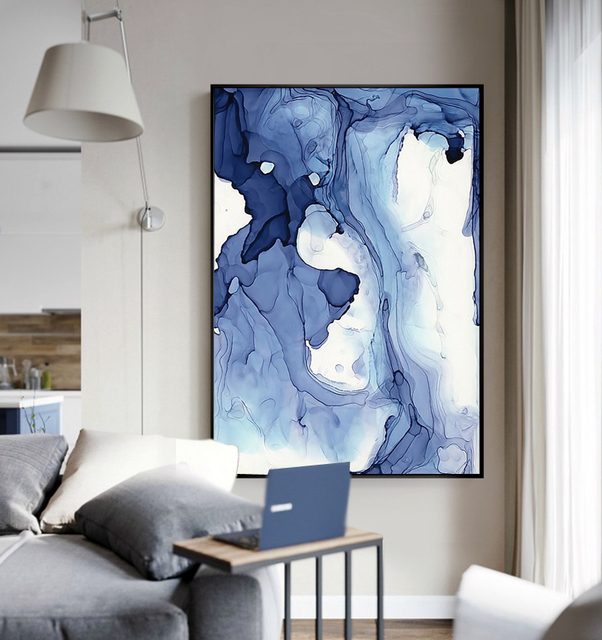 Blue Watercolor Abstract Modern Art Painting Canvas