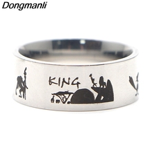 P3855 Dongmanli The Lion King Ring Stainless Steel Rings for Women Men Party Fashion Black Silver Jewelry