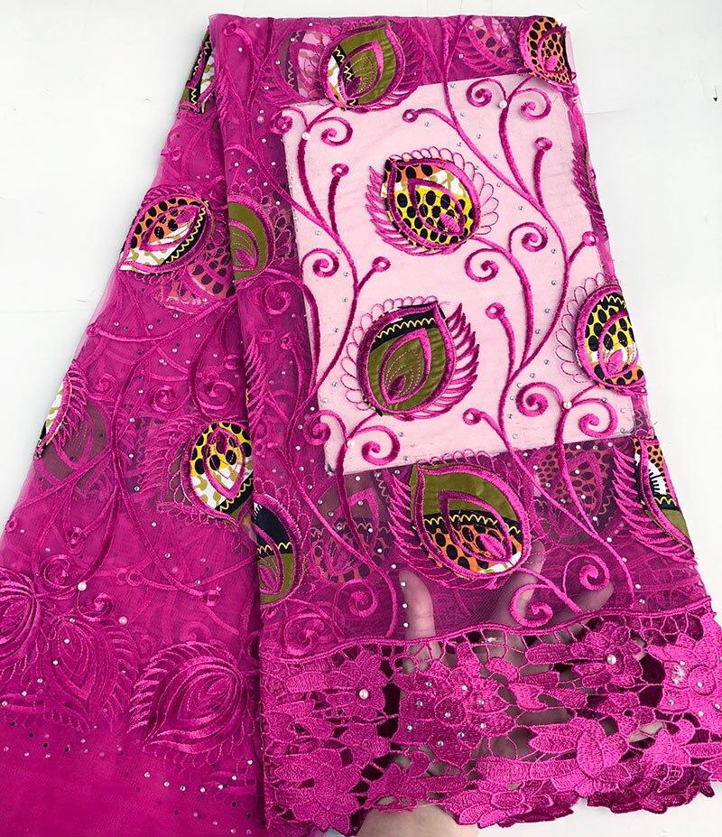 Floreale super cera Hollandais ricamato Africano francese merletto netto tessuto di tulle con bordi di pizzo guipure di Alta qualità 5 yards/ pc