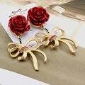 2016 moda barroca exagerada metal vintage rhinestone bow brincos rosas vermelhas flor brincos para mulheres jóias