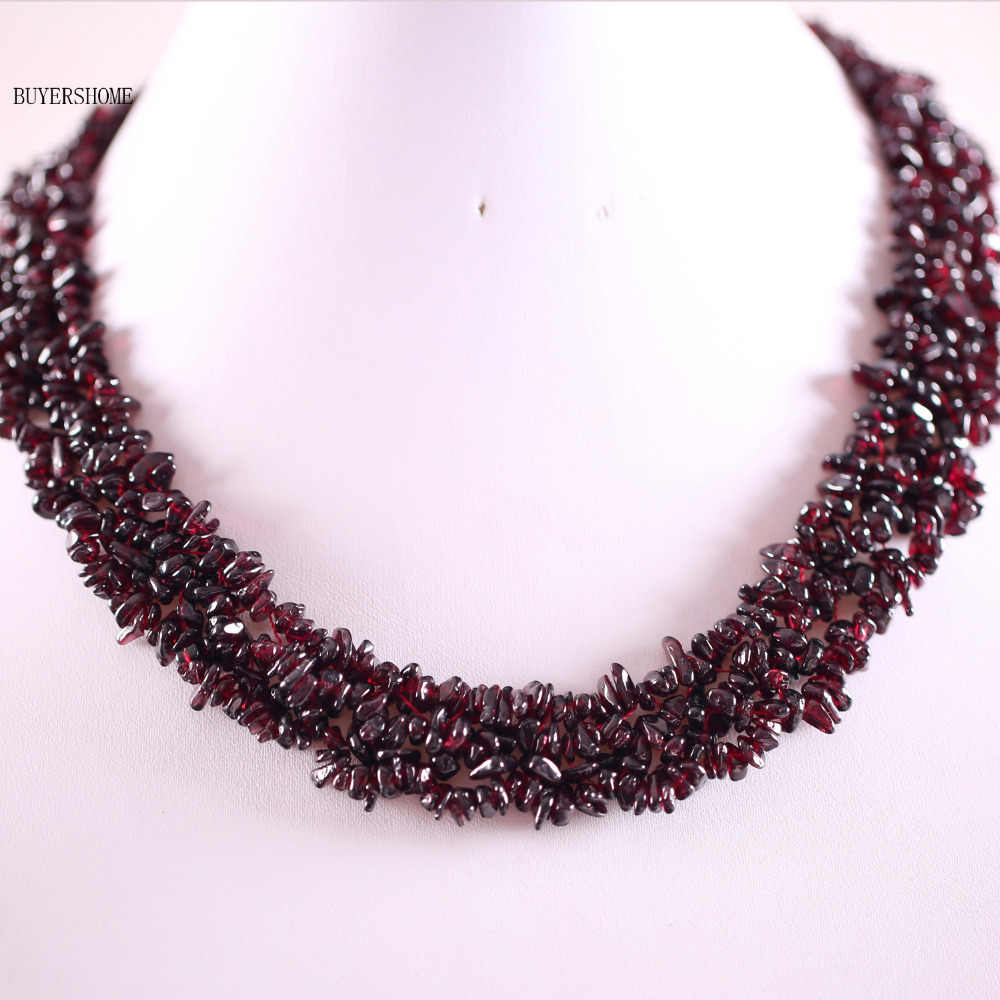 "Free Shipping Jewelry 4X8MM Natural Red Garnet Chip Beads Nylon Line Weave Necklace 18"" 1Pcs RE042"