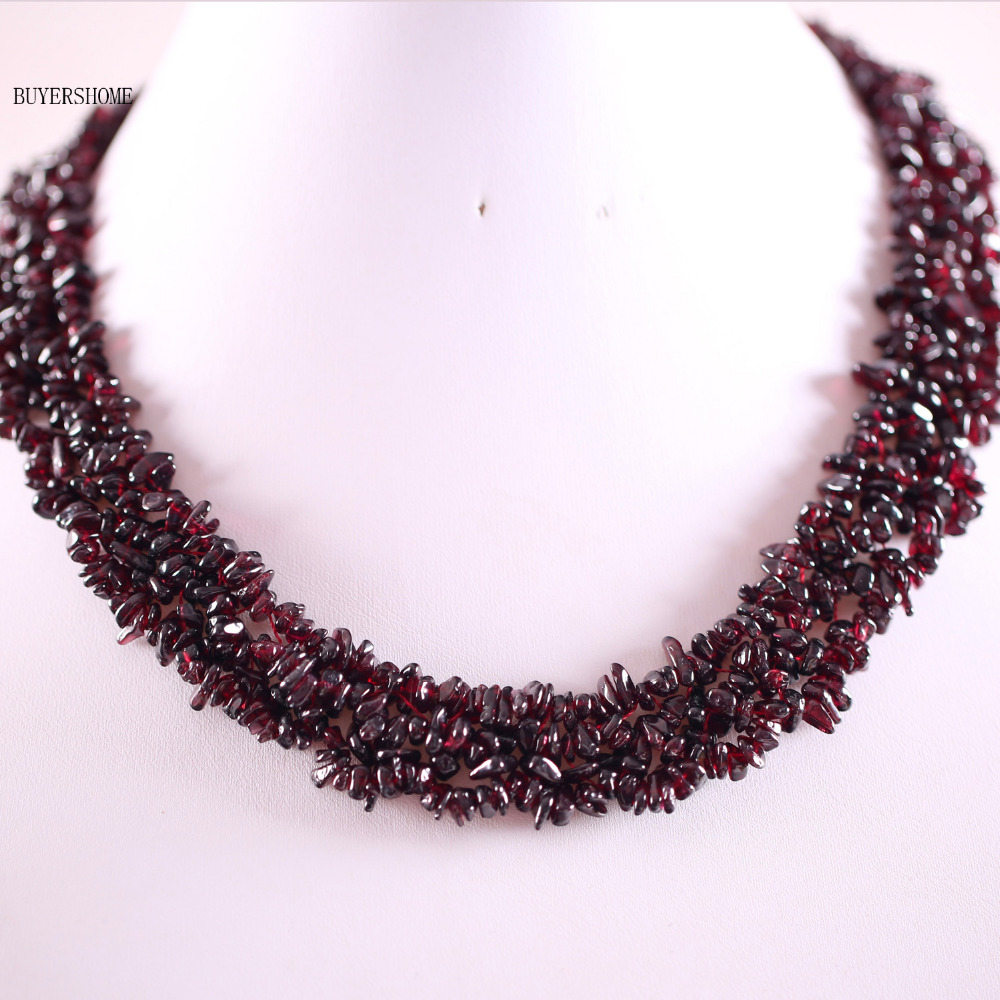 Free Shipping Jewelry 4X8MM Natural Red Garnet Chip Beads Nylon Line Weave Necklace 18