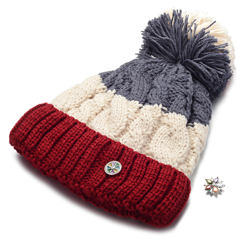 10pcs/lot Ginger Snap Hat fit 18mm Button   Beanie   Winter Kniting Hat With Pom Pom Unisex Men Womens   Skullies     Beanies   NN-702*10
