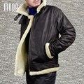 Зима мужчины натуральная кожа пальто кожаная куртка из искусственного овечьей шерсти мотоцикл куртки весте манто homme cuir homme LT1106