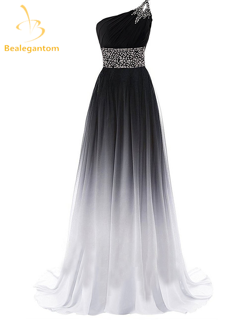 Bealegantom New Gradient Evening Dresses 2019 With One Shoulder Lace Up Formal Party Gown Vestido Longo QA1185