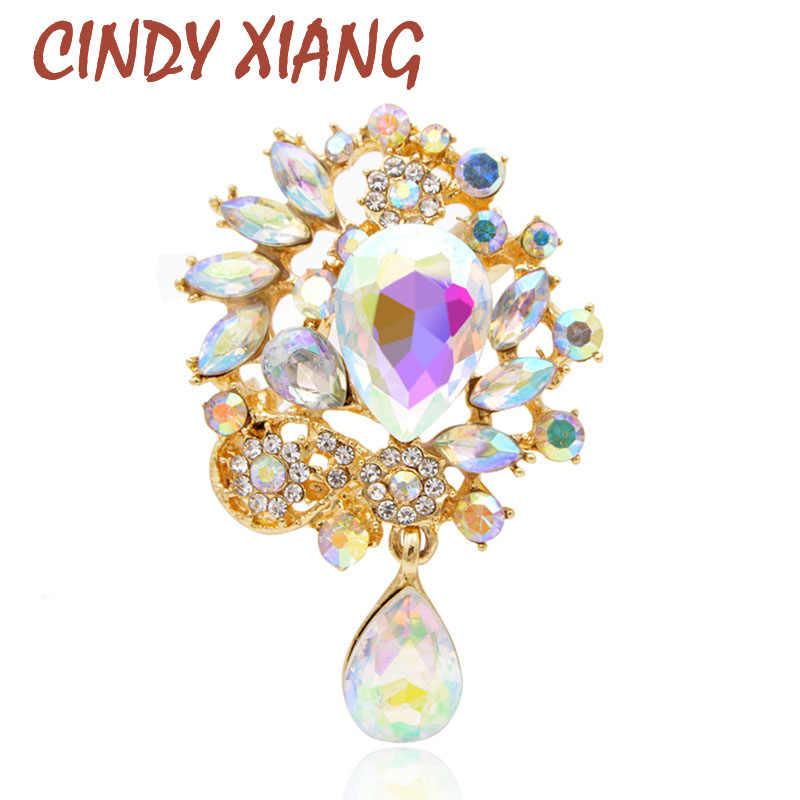 Cindy Xiang Paduan Seng dan Berlapis Perak Bunga Bros untuk Wanita Fashion Perhiasan Pin dengan Besar Shinning Kristal Hot Sale 2017